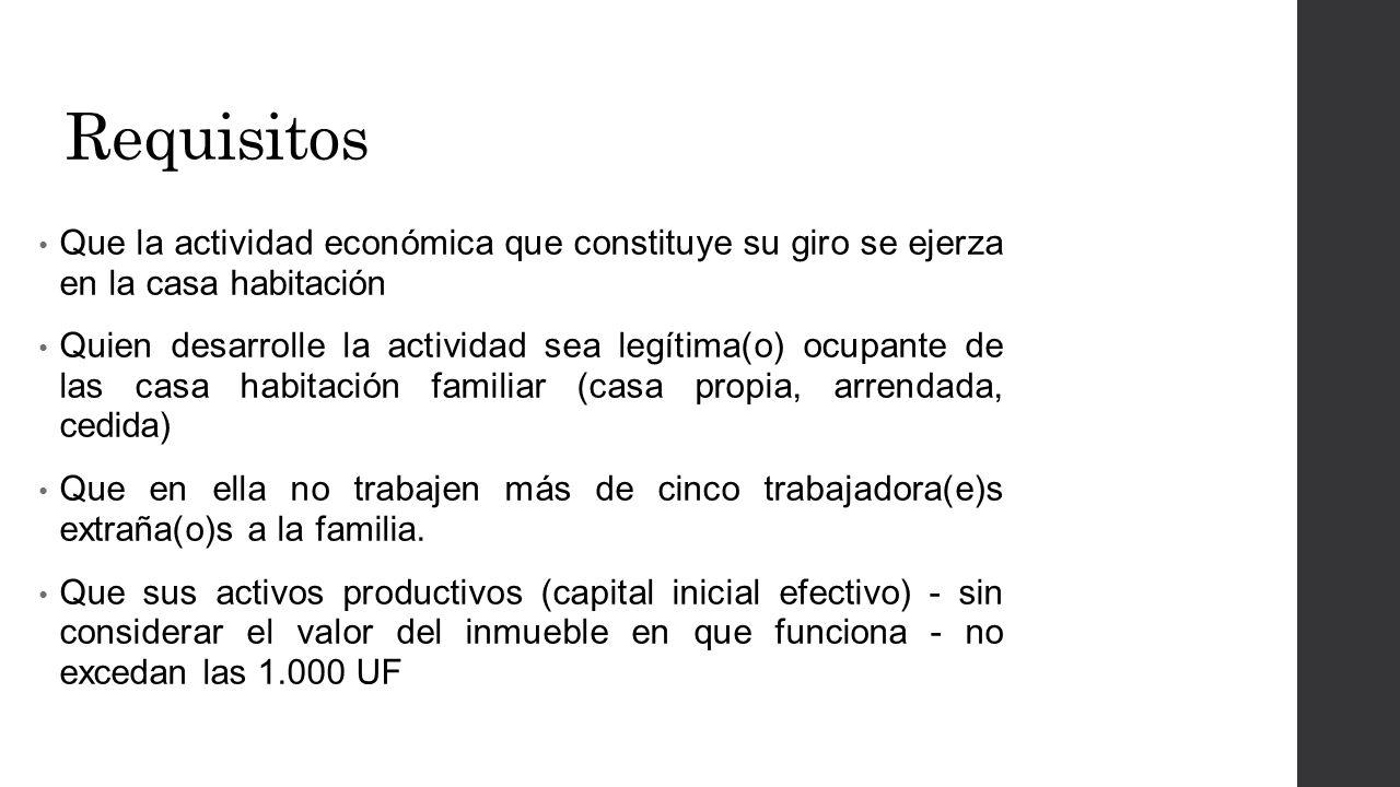 Requisitos Que la actividad económica que constituye su giro se ejerza en la casa habitación.