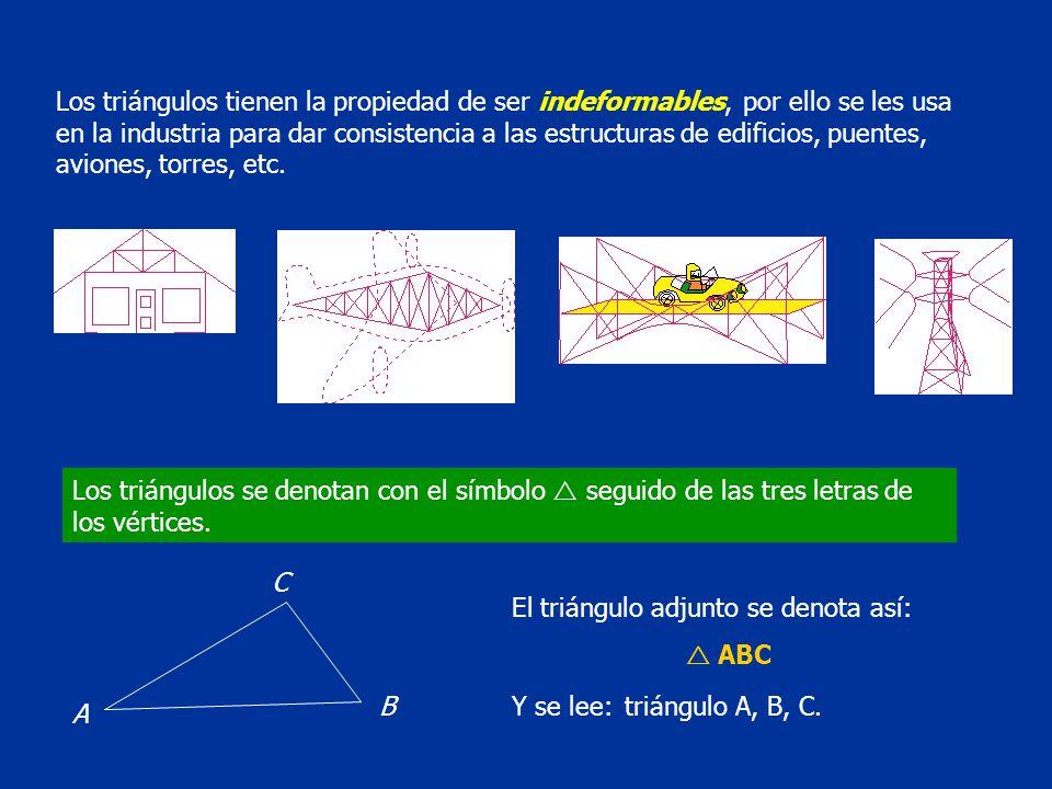 Los triángulos tienen la propiedad de ser indeformables, por ello se les usa en la industria para dar consistencia a las estructuras de edificios, puentes, aviones, torres, etc.