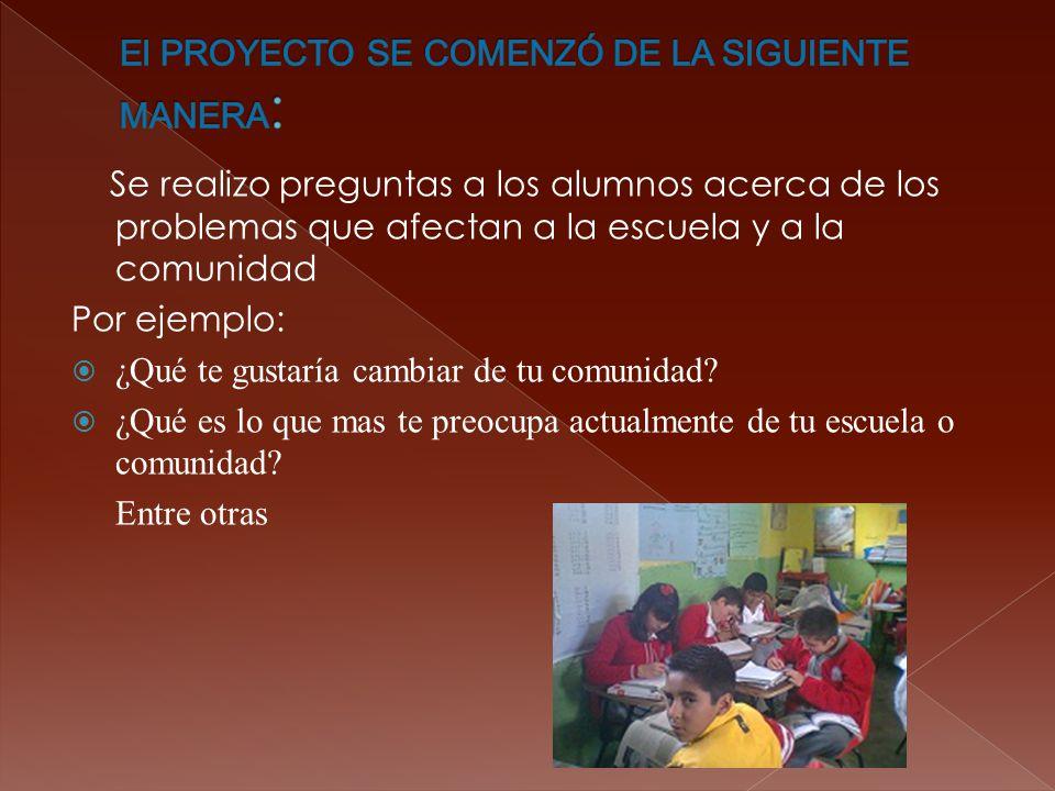 El PROYECTO SE COMENZÓ DE LA SIGUIENTE MANERA: