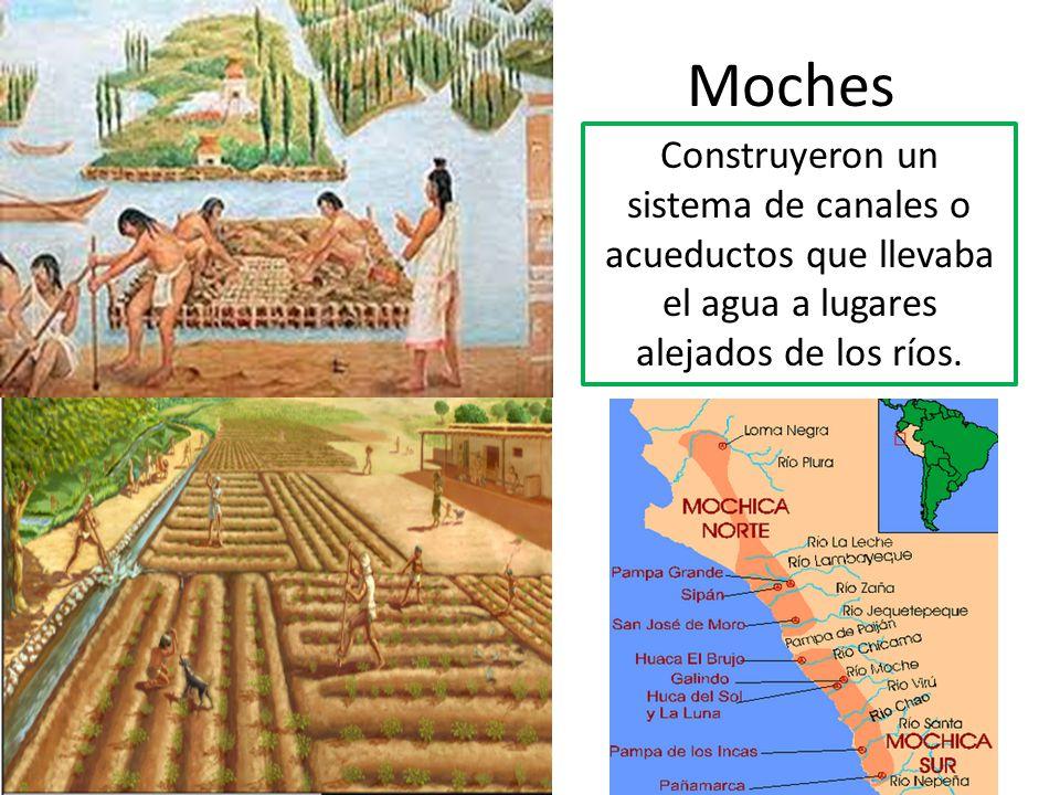 Moches Construyeron un sistema de canales o acueductos que llevaba el agua a lugares alejados de los ríos.