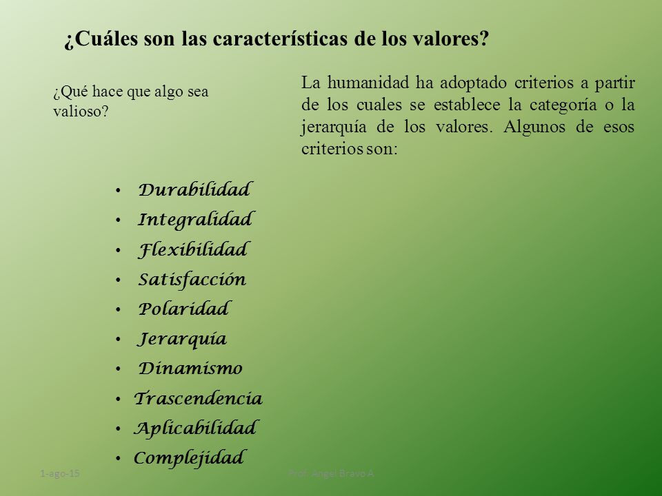 """Los valores y su significado ¿Qué se entiende por """"Valor"""