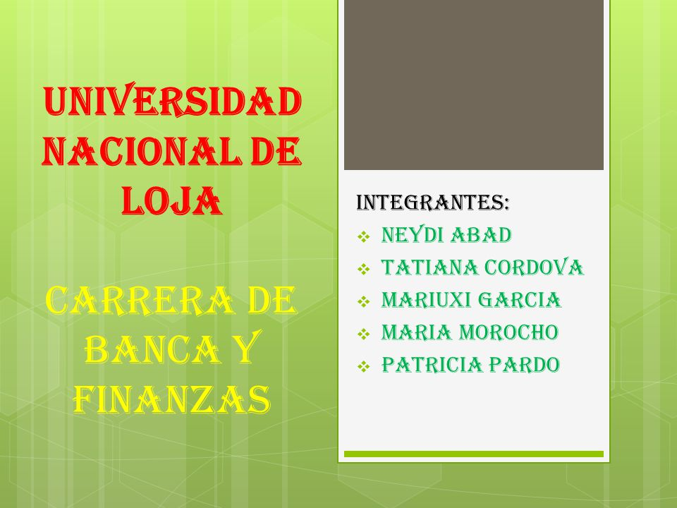 UNIVERSIDAD NACIONAL DE LOJA CARRERA DE BANCA Y FINANZAS