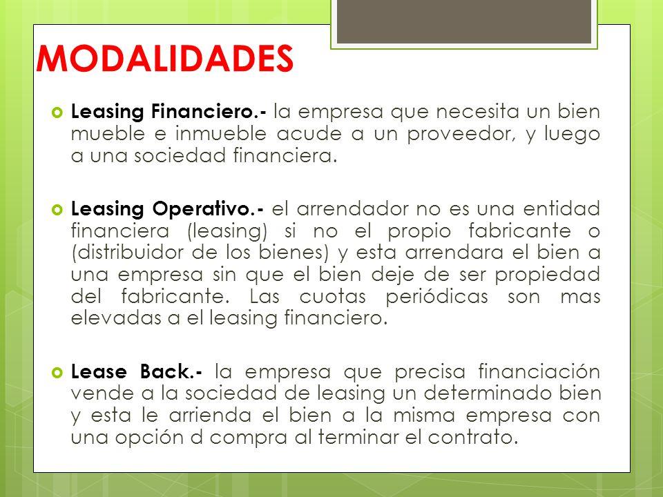MODALIDADES Leasing Financiero.- la empresa que necesita un bien mueble e inmueble acude a un proveedor, y luego a una sociedad financiera.
