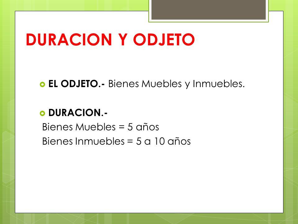 DURACION Y ODJETO EL ODJETO.- Bienes Muebles y Inmuebles. DURACION.-