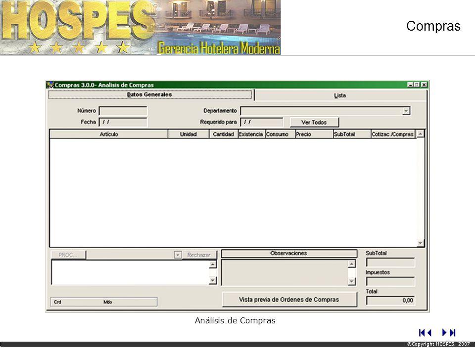 Compras Análisis de Compras ©Copyright HOSPES, 2007