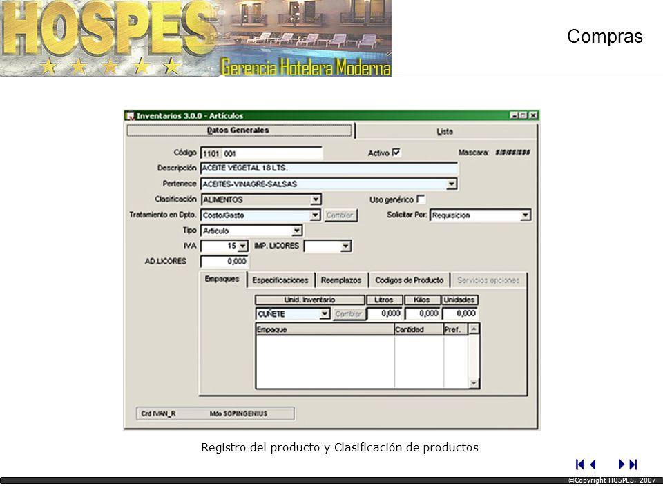 Registro del producto y Clasificación de productos