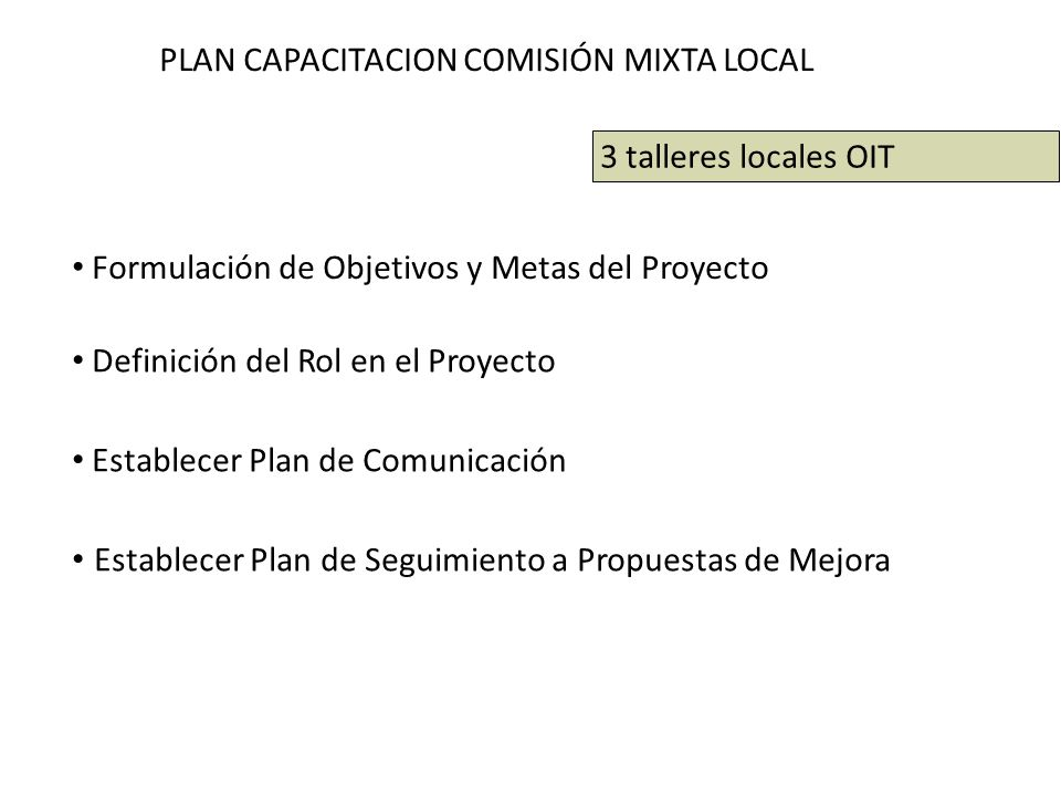PLAN CAPACITACION COMISIÓN MIXTA LOCAL