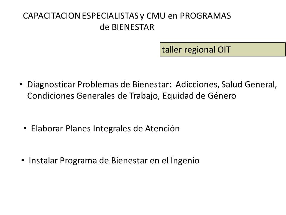 CAPACITACION ESPECIALISTAS y CMU en PROGRAMAS de BIENESTAR