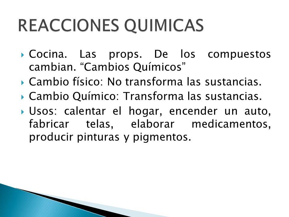 Reacciones qu micas es todo proceso qu mico en el que una for Cambios quimicos en la cocina