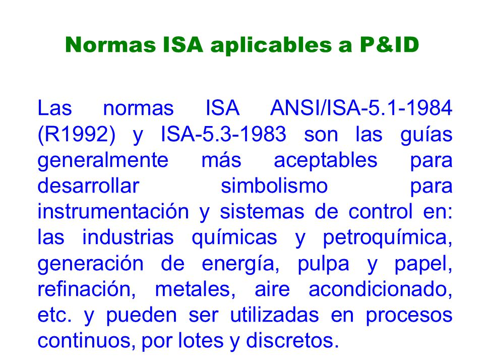 Normas ISA aplicables a P&ID