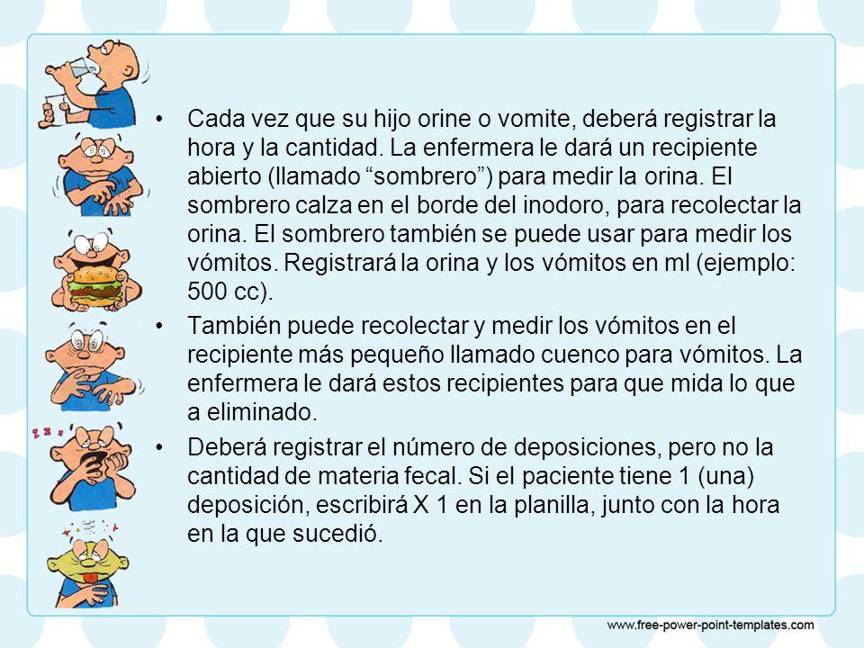 Cada vez que su hijo orine o vomite, deberá registrar la hora y la cantidad. La enfermera le dará un recipiente abierto (llamado sombrero ) para medir la orina. El sombrero calza en el borde del inodoro, para recolectar la orina. El sombrero también se puede usar para medir los vómitos. Registrará la orina y los vómitos en ml (ejemplo: 500 cc).