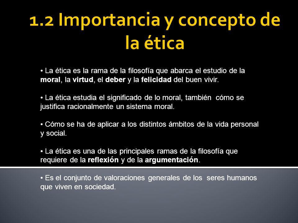 1.2 Importancia y concepto de la ética