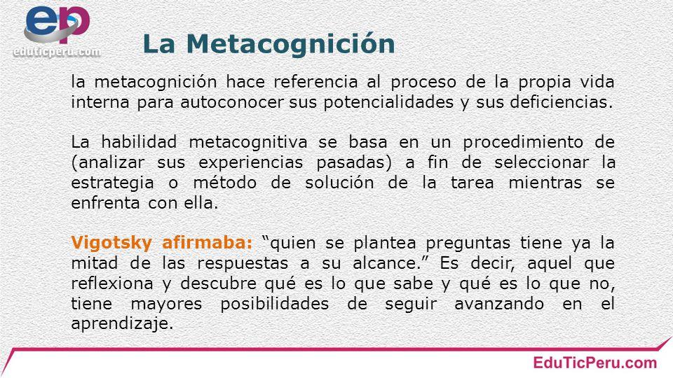 La Metacognición la metacognición hace referencia al proceso de la propia vida interna para autoconocer sus potencialidades y sus deficiencias.