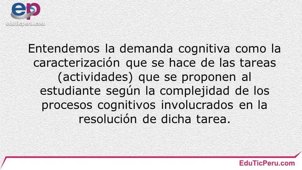 Entendemos la demanda cognitiva como la caracterización que se hace de las tareas (actividades) que se proponen al estudiante según la complejidad de los procesos cognitivos involucrados en la resolución de dicha tarea.