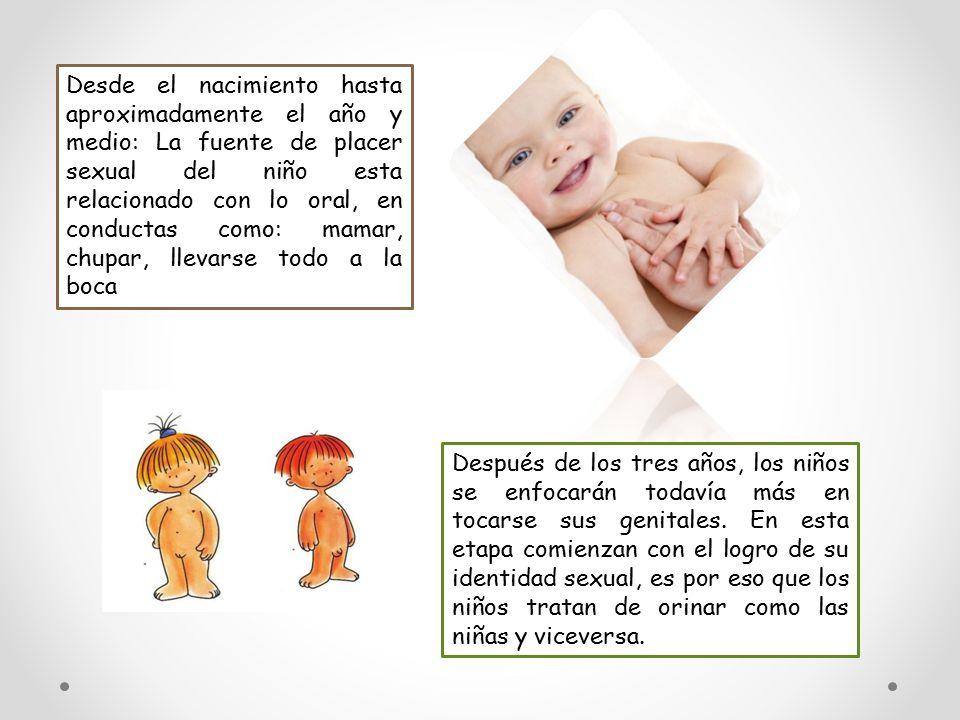 Desde el nacimiento hasta aproximadamente el año y medio: La fuente de placer sexual del niño esta relacionado con lo oral, en conductas como: mamar, chupar, llevarse todo a la boca
