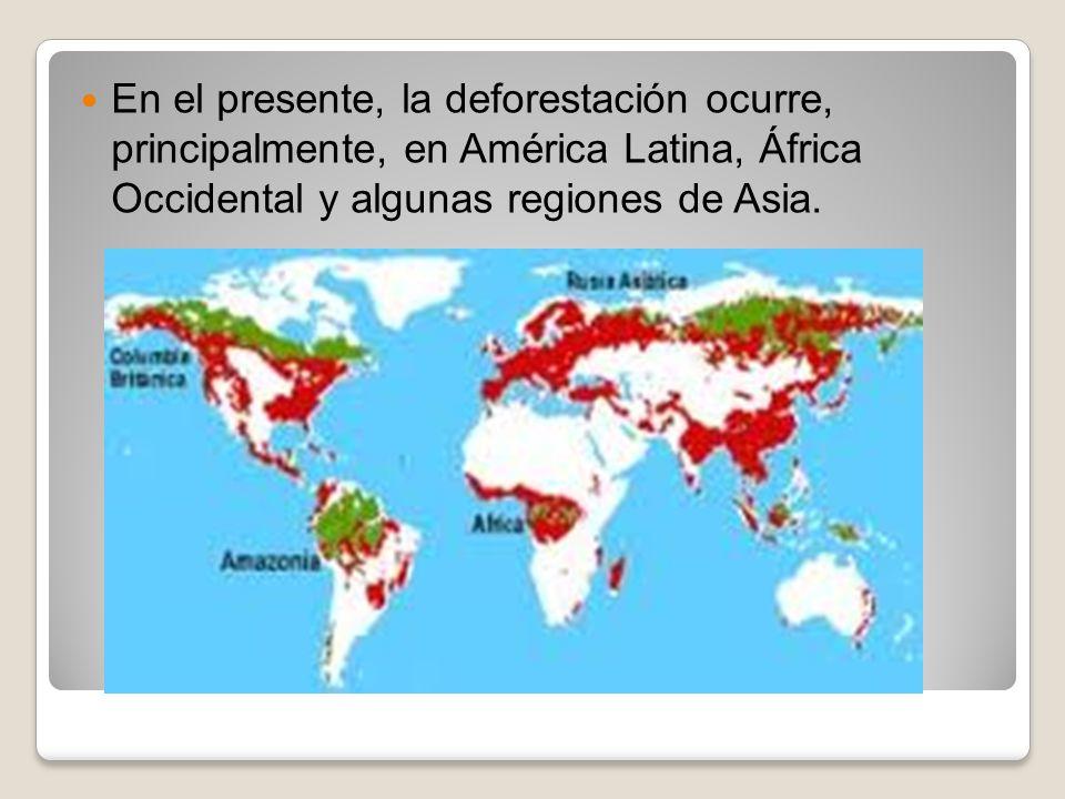 En el presente, la deforestación ocurre, principalmente, en América Latina, África Occidental y algunas regiones de Asia.