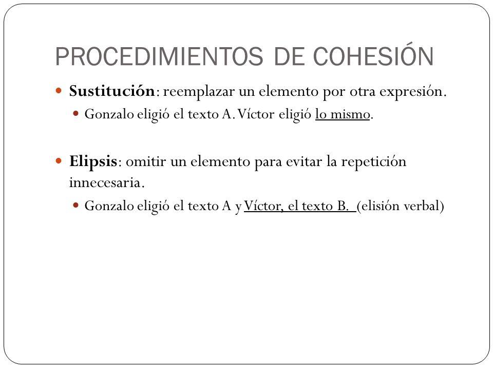 PROCEDIMIENTOS DE COHESIÓN