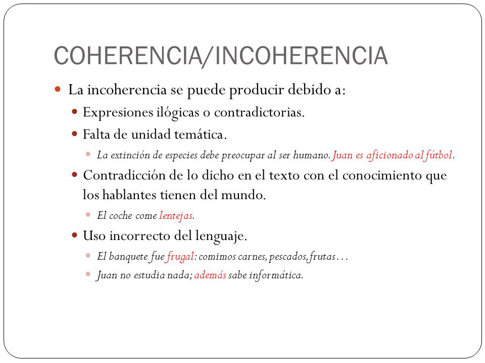 COHERENCIA/INCOHERENCIA