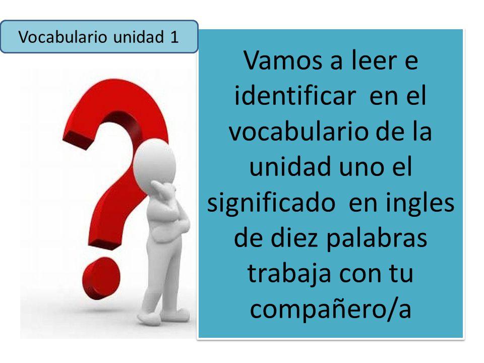 Vocabulario unidad 1