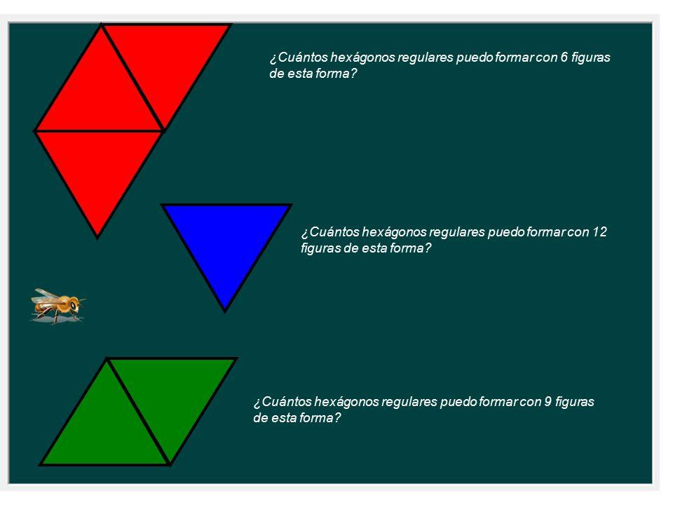 ¿Cuántos hexágonos regulares puedo formar con 6 figuras de esta forma