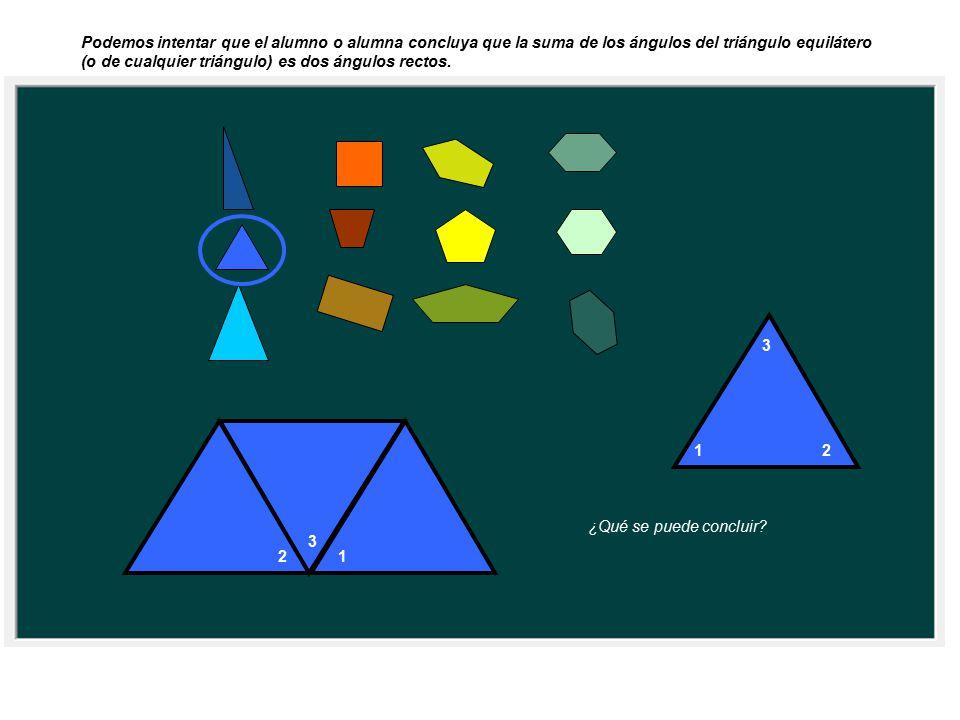 Podemos intentar que el alumno o alumna concluya que la suma de los ángulos del triángulo equilátero (o de cualquier triángulo) es dos ángulos rectos.