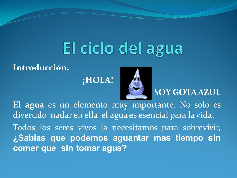 El ciclo del agua Introducción: ¡HOLA! SOY GOTA AZUL