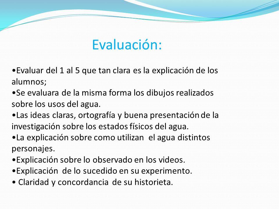 Evaluación: Evaluar del 1 al 5 que tan clara es la explicación de los alumnos;