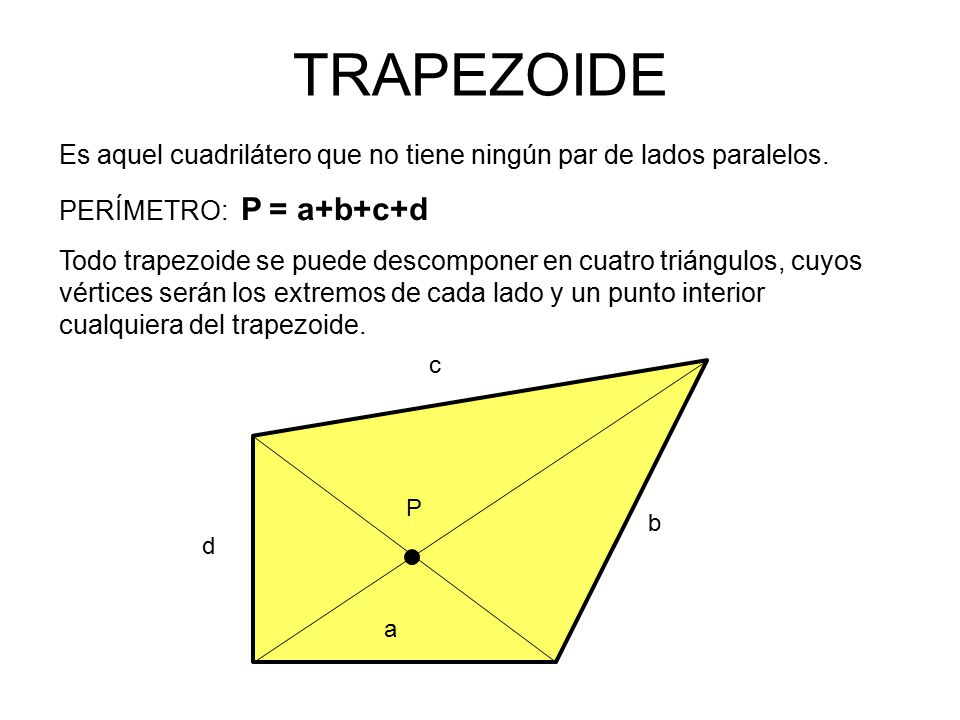TRAPEZOIDE Es aquel cuadrilátero que no tiene ningún par de lados paralelos. PERÍMETRO: P = a+b+c+d.