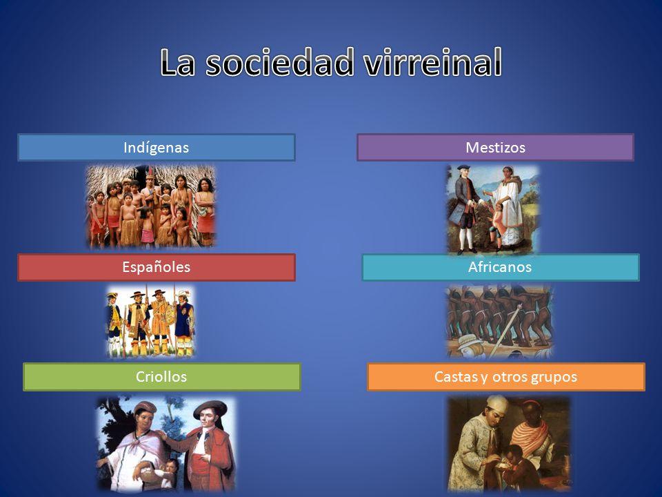La sociedad virreinal Indígenas Mestizos Españoles Africanos Criollos
