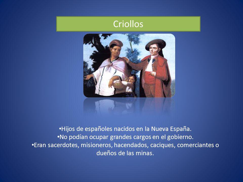 Criollos Hijos de españoles nacidos en la Nueva España.