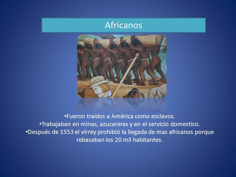 Africanos Fueron traídos a América como esclavos.