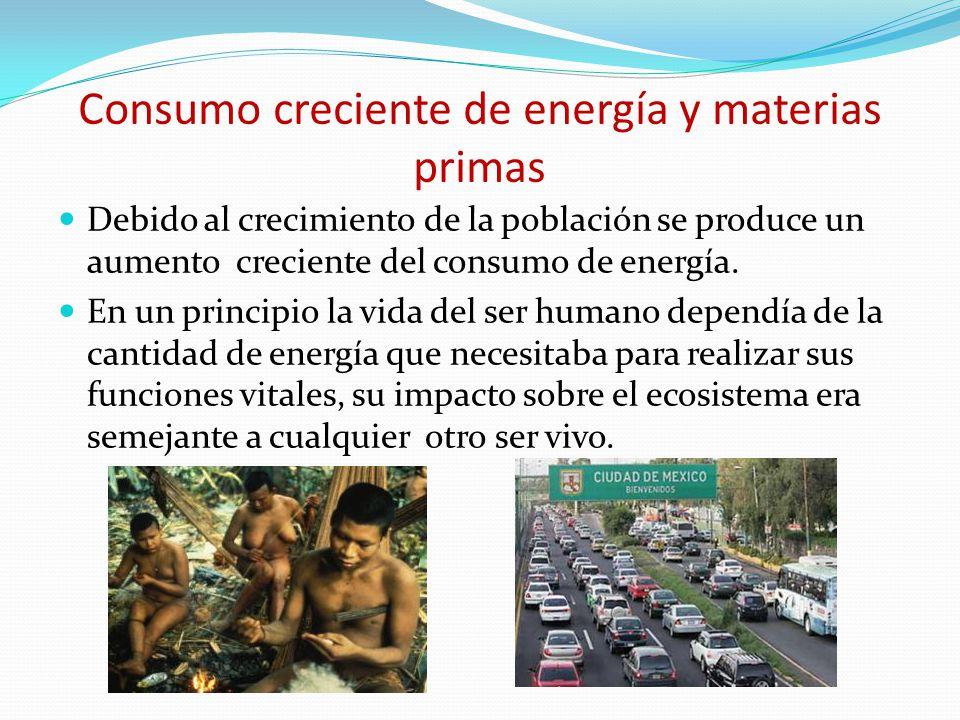 Consumo creciente de energía y materias primas