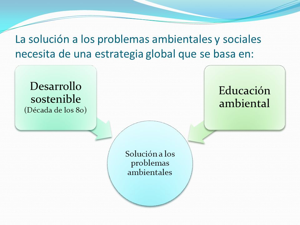 La solución a los problemas ambientales y sociales necesita de una estrategia global que se basa en: