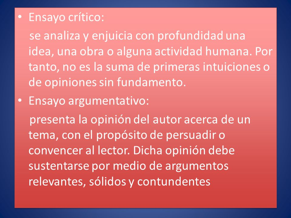 Ensayo crítico: