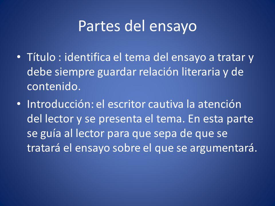 Partes del ensayo Título : identifica el tema del ensayo a tratar y debe siempre guardar relación literaria y de contenido.