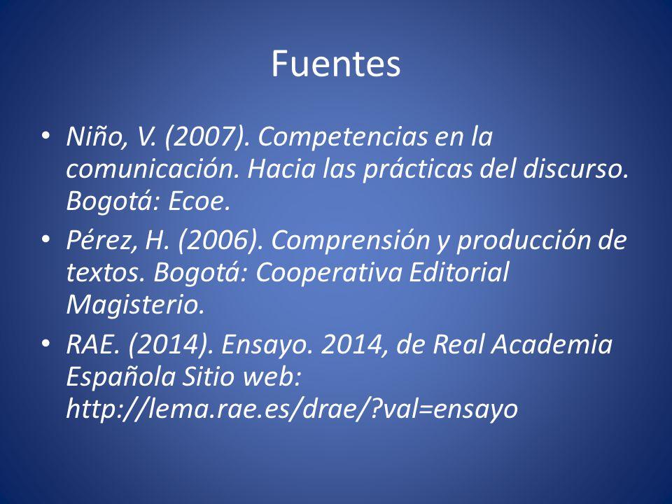 Fuentes Niño, V. (2007). Competencias en la comunicación. Hacia las prácticas del discurso. Bogotá: Ecoe.