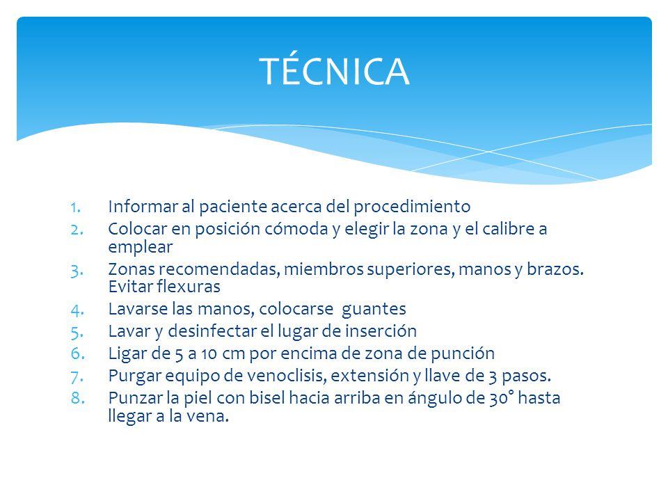 TÉCNICA Informar al paciente acerca del procedimiento