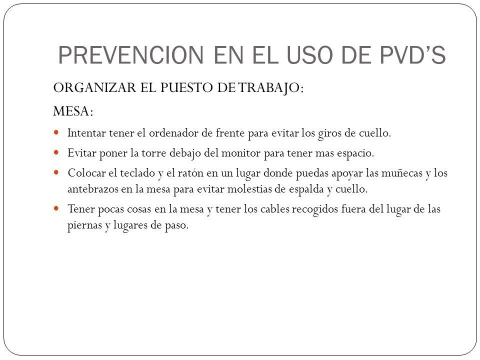PREVENCION EN EL USO DE PVD'S