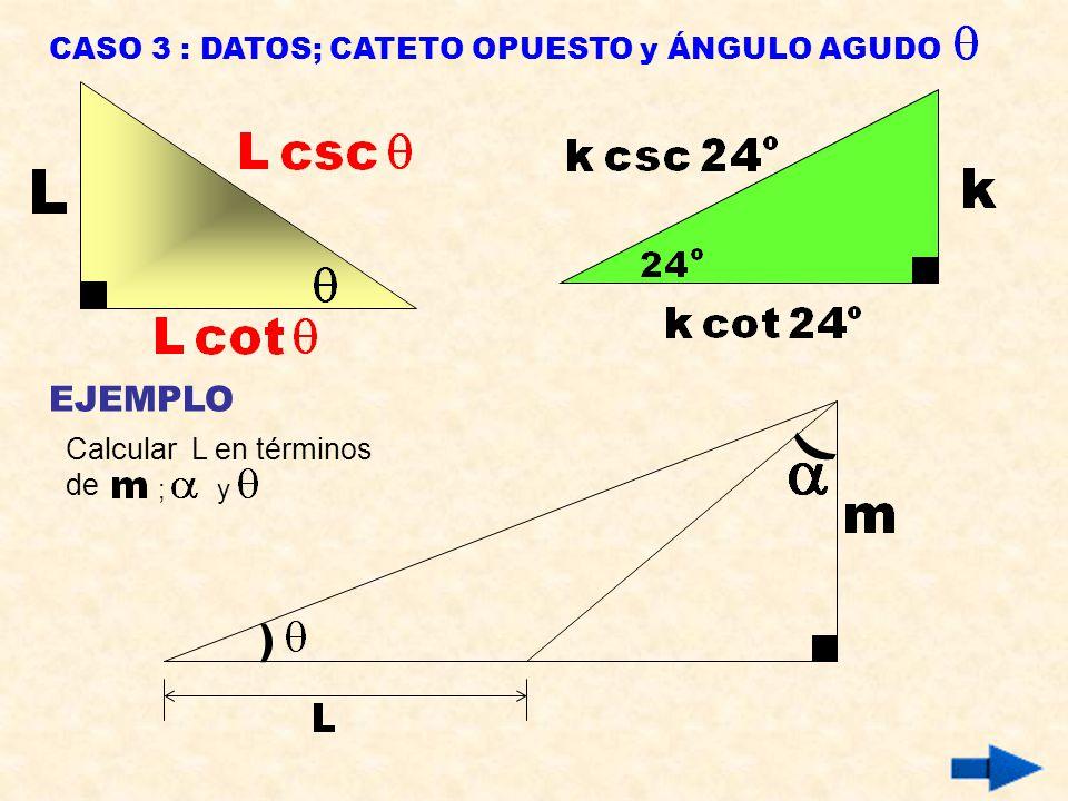 ) ) EJEMPLO CASO 3 : DATOS; CATETO OPUESTO y ÁNGULO AGUDO