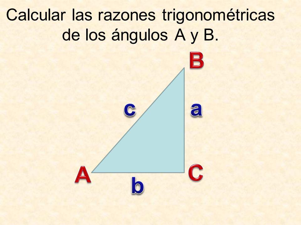 Calcular las razones trigonométricas de los ángulos A y B.