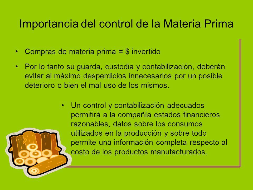 Importancia del control de la Materia Prima
