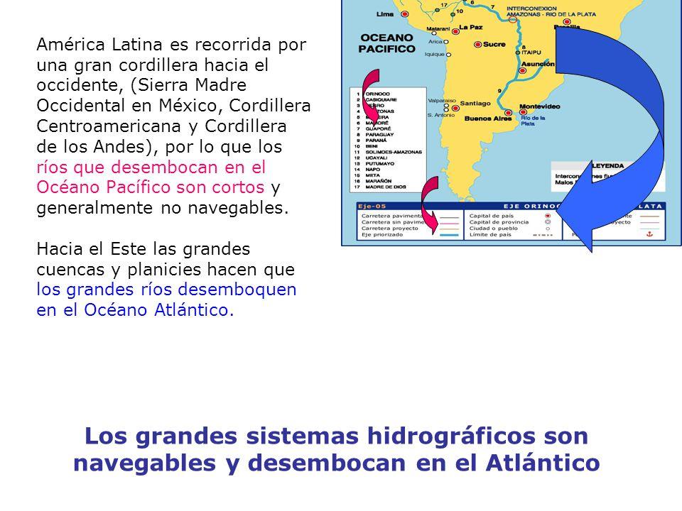 América Latina es recorrida por una gran cordillera hacia el occidente, (Sierra Madre Occidental en México, Cordillera Centroamericana y Cordillera de los Andes), por lo que los ríos que desembocan en el Océano Pacífico son cortos y generalmente no navegables.
