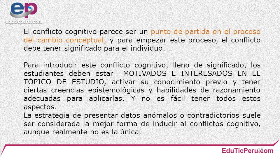 El conflicto cognitivo parece ser un punto de partida en el proceso del cambio conceptual, y para empezar este proceso, el conflicto debe tener significado para el individuo.