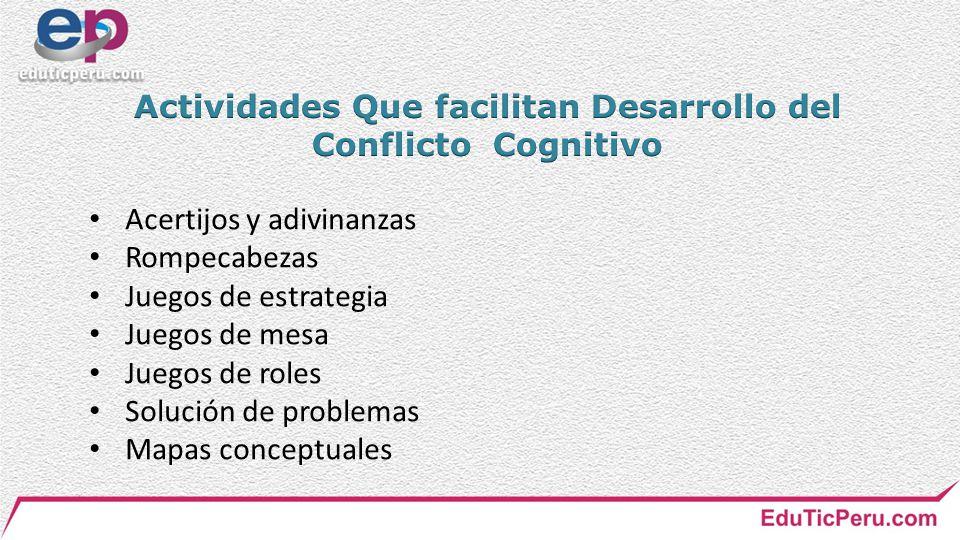 Actividades Que facilitan Desarrollo del Conflicto Cognitivo