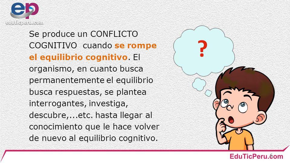 Se produce un CONFLICTO COGNITIVO cuando se rompe el equilibrio cognitivo.