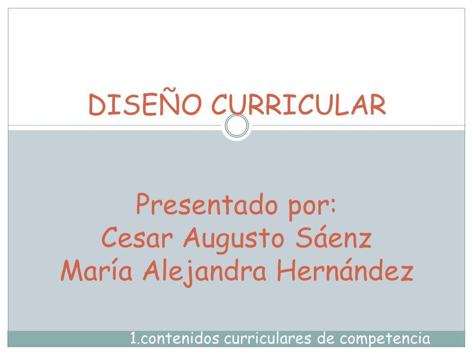 DISEÑO CURRICULAR Presentado por: Cesar Augusto Sáenz María Alejandra Hernández