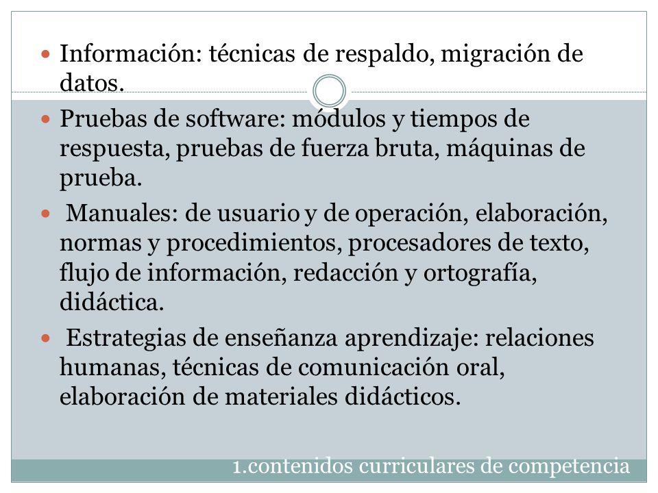 Información: técnicas de respaldo, migración de datos.