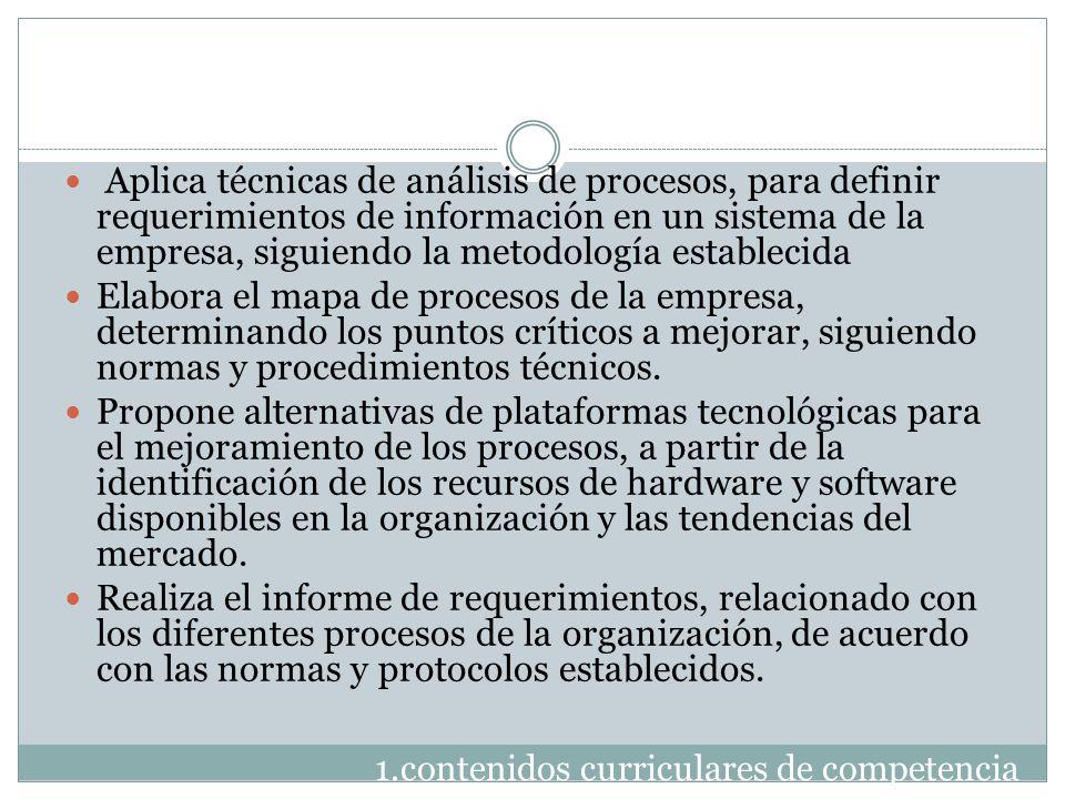 Aplica técnicas de análisis de procesos, para definir requerimientos de información en un sistema de la empresa, siguiendo la metodología establecida