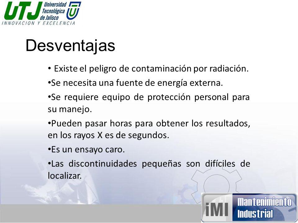 Desventajas Existe el peligro de contaminación por radiación.