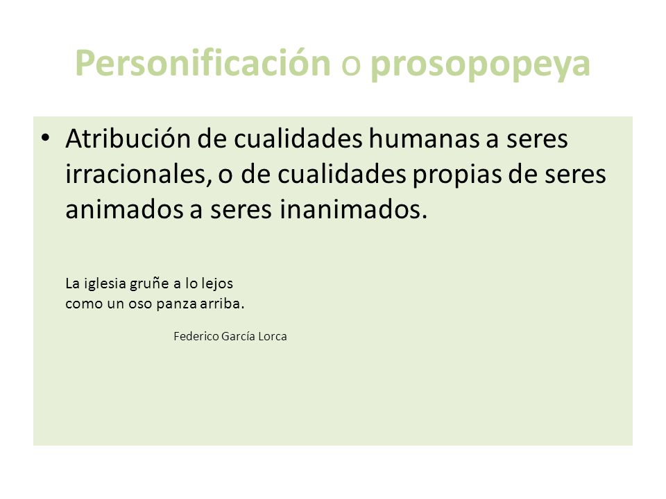 Personificación o prosopopeya